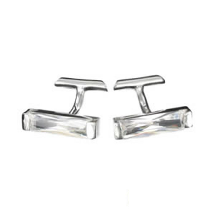 Sterling Silver White Cubic Zirconia Strip Cufflinks