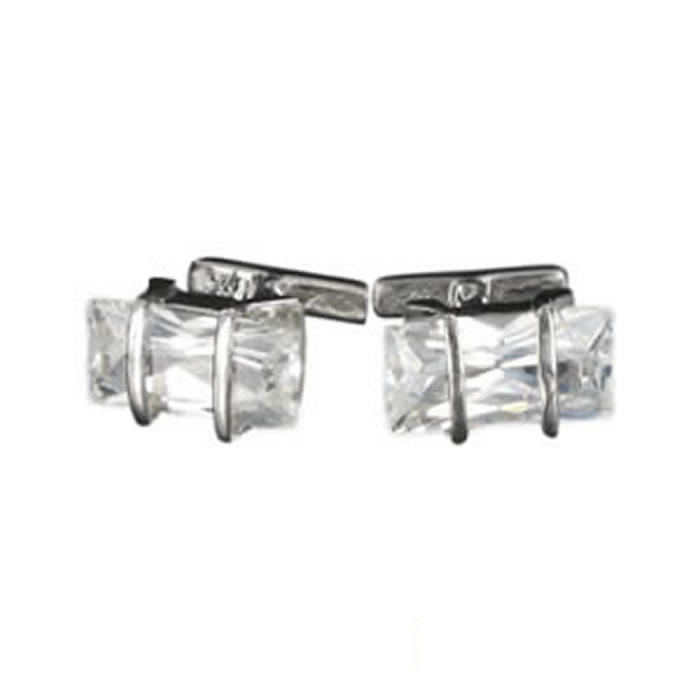 Sterling Silver White Cubic Zirconia Rectangle Cufflinks