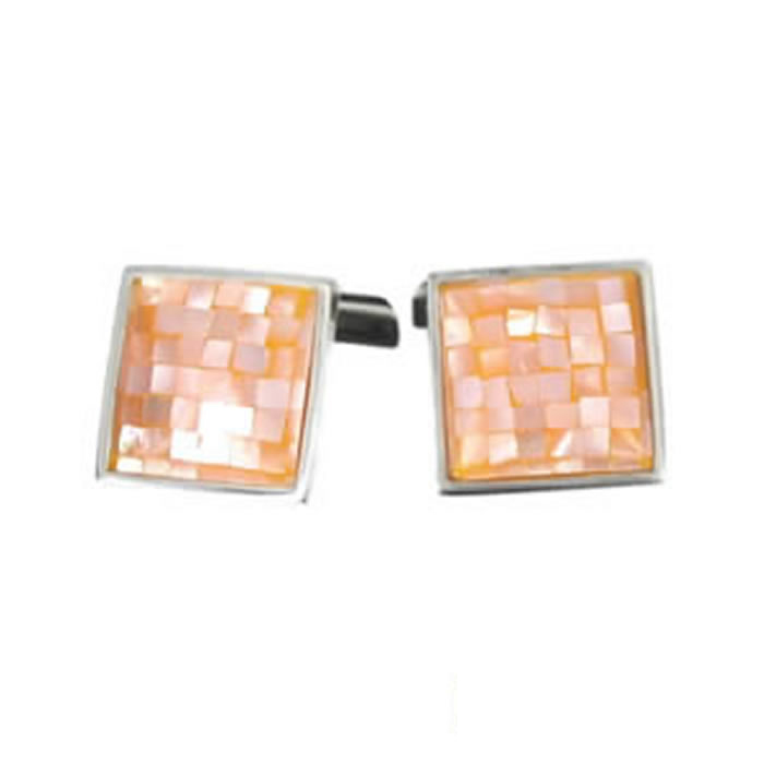 Sterling Silver Peach Chequered Shell Mosaic Cufflinks