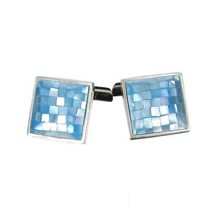 Sterling Silver Blue Chequered Shell Mosaic Cufflinks