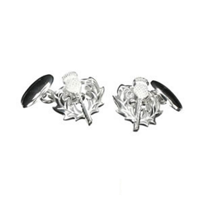 Sterling Silver Scottish Thistle Cufflinks