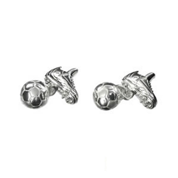Sterling Silver Football Boot And Ball Cufflinks