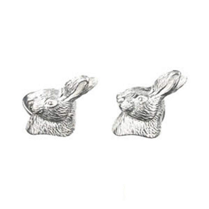Sterling Silver Rabbits Head Cufflinks
