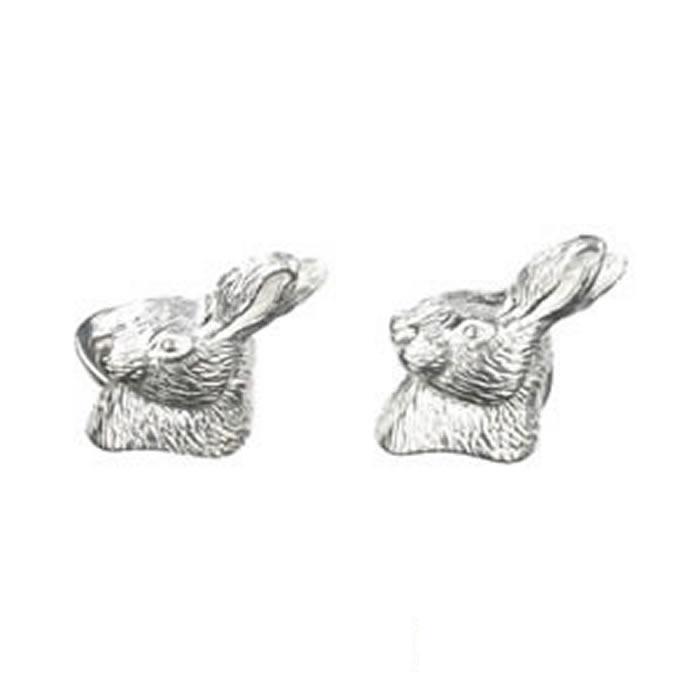 Sterling Silver Rabbits Head Cufflinks