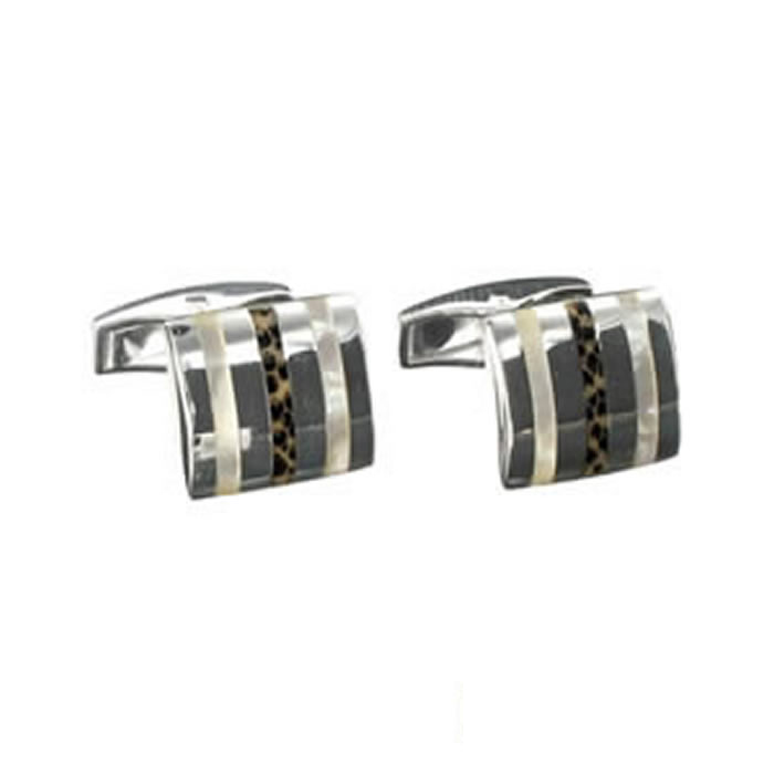 Sterling Silver Wood And Mop Cufflinks