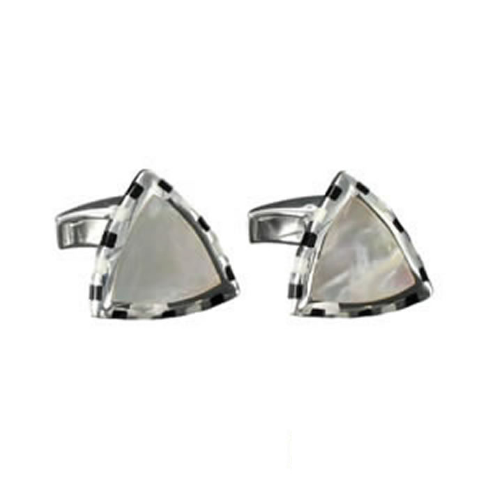 Sterling Silver Black Enamel Mop Triangular Cufflinks