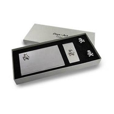 Skull & Crossbones Business Card Holder, Money clip & Cuffs Set