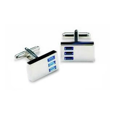 Rectangular Blue Striped Crystal Cufflinks