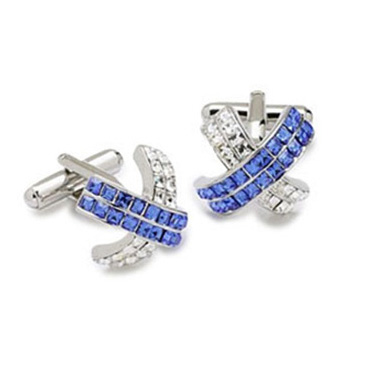 Arched Clear And Blue Crystal Cufflinks