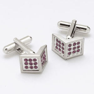 Square Corner Crystal Cufflinks