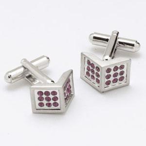Square Corner Crystal Cufflinks
