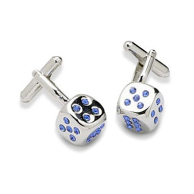 Blue Crystal Dice Cufflinks
