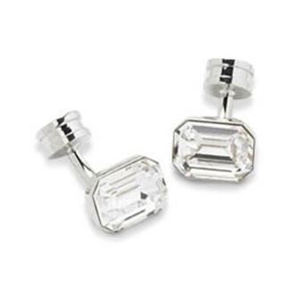 Emerald Cut Clear Crystal Cufflinks