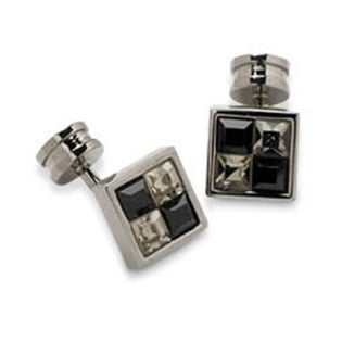 Square Black And Clear Crystal Cufflinks