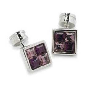Amethyst And Lavender Crystal Cufflinks