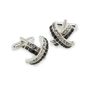 Arched Clear And Black Crystal Cufflinks