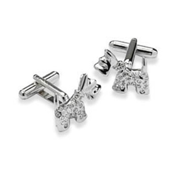 Clear Crystal Dog Cufflinks