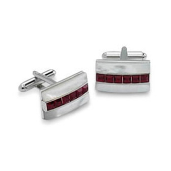 Red Crystal Stripe Cufflinks