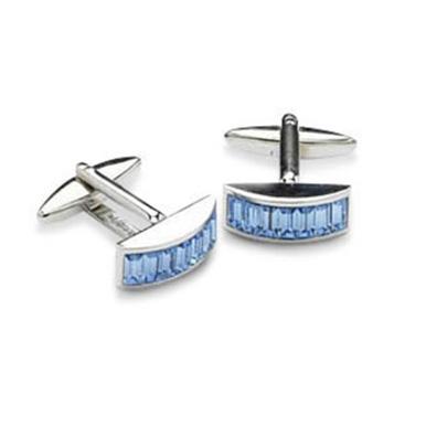 Convex Blue Crystal Cufflinks