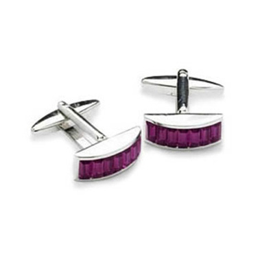 Convex Purple Crystal Cufflinks
