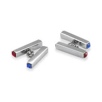 Dual Bar Red And Blue Crystal Cufflinks