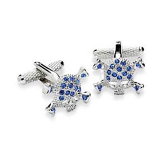 Blue Crystal Studded Skull Cufflinks
