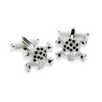 Black Crystal Studded Skull Cufflinks