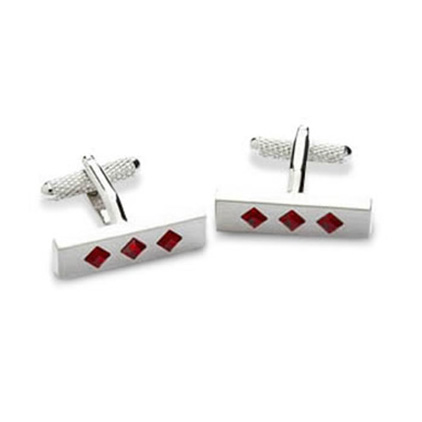 Triple Crystal Red Cufflinks