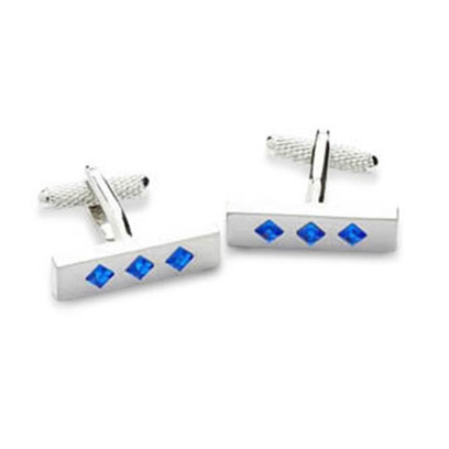 Triple Crystal Blue Cufflinks
