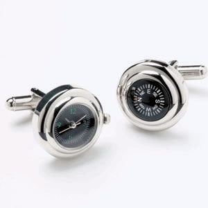Silver Watch And Compass Cufflinks