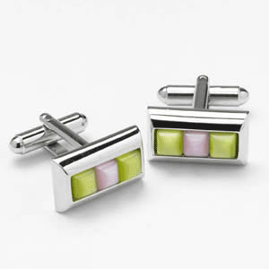 Green And Pink Catseye Cufflinks