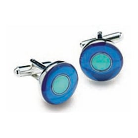 Round Blue And Green Cufflinks