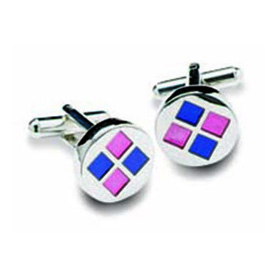 Round Purple And Pink Squares Cufflinks