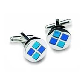 Round Blue Squares Cufflinks