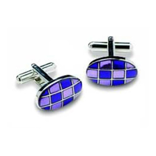 Oval Purple Checked Cufflinks