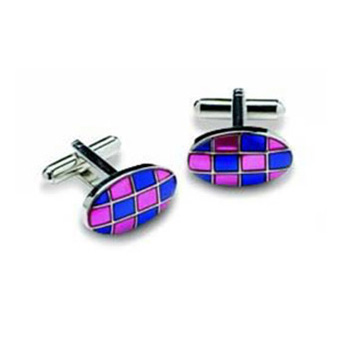 Oval Purple And Pink Checked Cufflinks