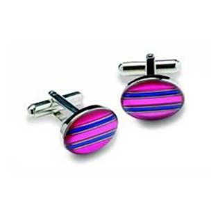 Oval Pink And Purple Striped Cufflinks