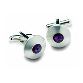 Round Purple Stone Cufflinks