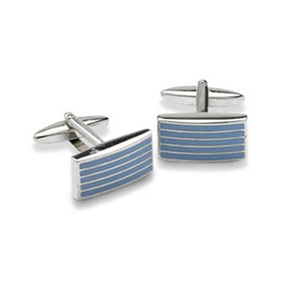 Rectangular Blue Striped Cufflinks