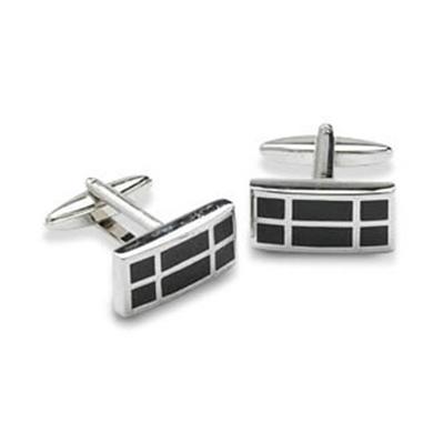 Rectangular Black Squares Cufflinks
