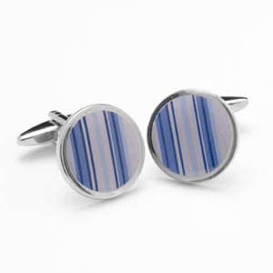 Round Purple Striped Cufflinks
