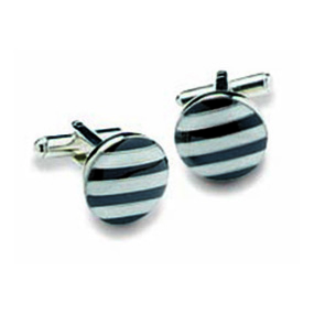 Round Black And White Striped Cufflinks