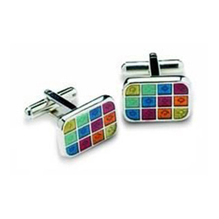 Rectangular Multicoloured Cufflinks