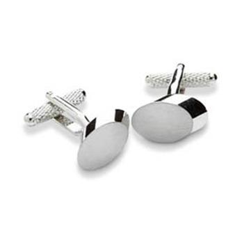 Silver Matt Oval Cufflinks