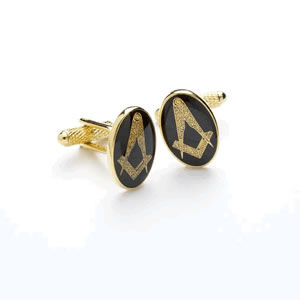 Gold And Black Masonic Cufflinks