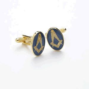 Gold And Blue Masonic Cufflinks