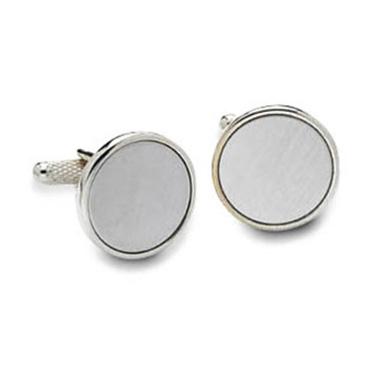 Plain Circular Silver Cufflinks