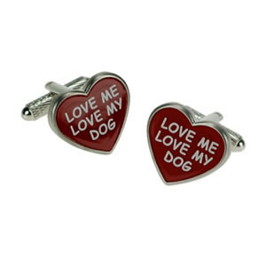 Love My Dog Heart Cufflinks