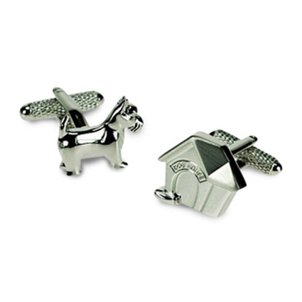 Silver Dog And Kennel Cufflinks
