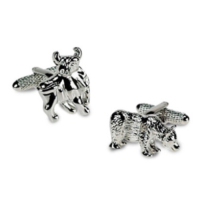 Silver Bull And Bear Cufflinks